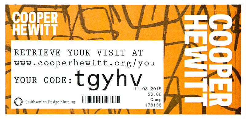 An image of the Cooper Hewitt's admission ticket.